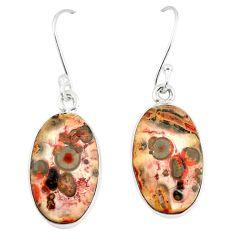 Natural brown leopard skin jasper 925 silver dangle earrings jewelry m39281