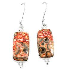Natural brown leopard skin jasper 925 silver dangle earrings m39283