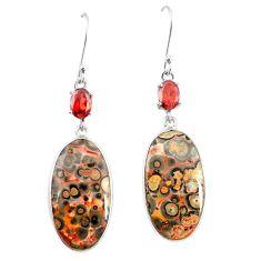 Natural brown leopard skin jasper 925 silver dangle earrings m39285
