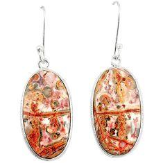 Natural brown leopard skin jasper 925 silver dangle earrings jewelry m39286
