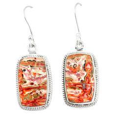 Natural brown leopard skin jasper 925 silver dangle earrings jewelry m39292