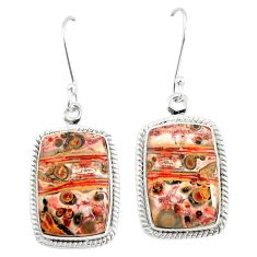 Natural brown leopard skin jasper 925 silver dangle earrings jewelry m39293
