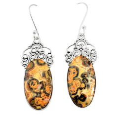 Natural brown leopard skin jasper 925 silver dangle earrings jewelry m39295
