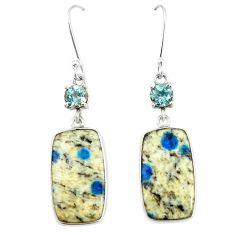 Natural k2 blue (azurite in quartz) 925 sterling silver dangle earrings m39331