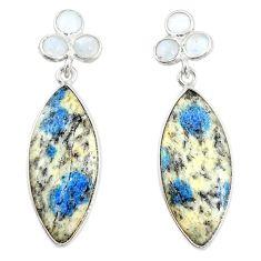 925 silver natural k2 blue (azurite in quartz) dangle earrings jewelry m39340