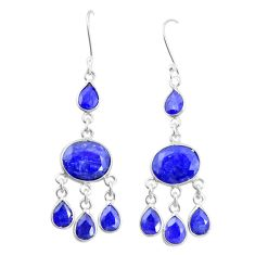 Natural blue sapphire 925 sterling silver dangle earrings jewelry m40001