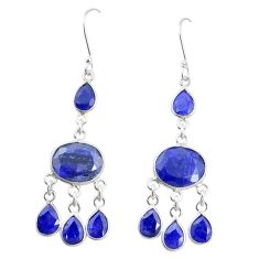 Natural blue sapphire 925 sterling silver dangle earrings jewelry m40003