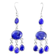 Natural blue sapphire 925 sterling silver dangle earrings jewelry m40005