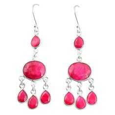 Natural red ruby 925 sterling silver dangle earrings jewelry m40007
