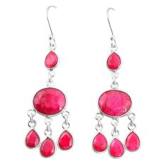 Natural red ruby 925 sterling silver dangle earrings jewelry m40008