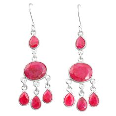 Natural red ruby 925 sterling silver dangle earrings jewelry m40009