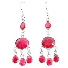 Natural red ruby 925 sterling silver dangle earrings jewelry m40013