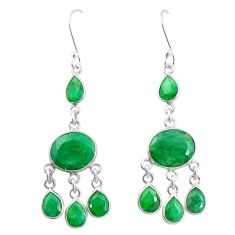 Natural green emerald 925 sterling silver dangle earrings m40016