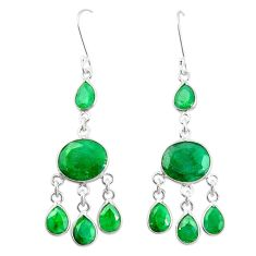 Natural green emerald 925 sterling silver dangle earrings m40019