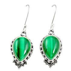 Natural green malachite (pilot's stone) 925 silver dangle earrings m41247