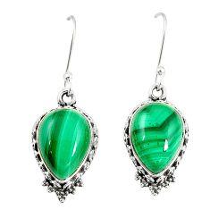 Natural green malachite (pilot's stone) 925 silver dangle earrings m41249