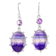 Natural multi color fluorite amethyst 925 silver dangle earrings m41335