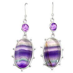Natural multi color fluorite amethyst 925 silver dangle earrings m41338