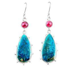 Natural blue shattuckite red garnet 925 silver dangle earrings jewelry m41358