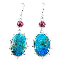 925 silver natural blue shattuckite red garnet dangle earrings jewelry m41360