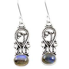 Natural blue labradorite 925 sterling silver dangle earrings m42528