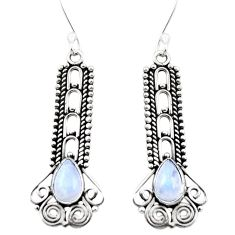 Natural rainbow moonstone 925 sterling silver dangle earrings m42801