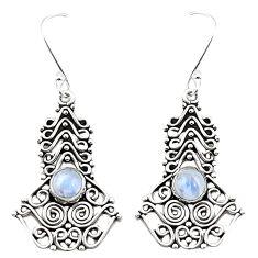 Natural rainbow moonstone 925 sterling silver dangle earrings m42955