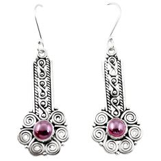 Natural red garnet 925 sterling silver dangle earrings jewelry m42963