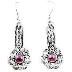 Natural red garnet 925 sterling silver dangle earrings jewelry m42965