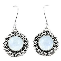 Natural rainbow moonstone 925 sterling silver dangle earrings m43251