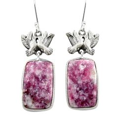 Natural purple lepidolite 925 sterling silver love birds earrings m44147