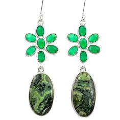 Natural green kambaba jasper (stromatolites) 925 silver dangle earrings m44150