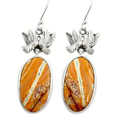 Natural yellow snakeskin jasper 925 silver love birds earrings m44162