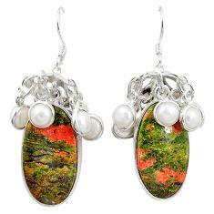 Natural green unakite pearl 925 sterling silver dangle earrings m44171