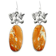Natural yellow snakeskin jasper 925 silver love birds earrings m44190