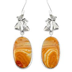 Natural yellow snakeskin jasper 925 silver two cats earrings m44194