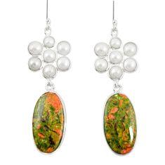 Natural green unakite pearl 925 sterling silver dangle earrings jewelry m45068
