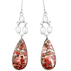 Natural red birds eye pearl 925 sterling silver dangle earrings jewelry m45070