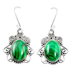 Natural green malachite (pilot's stone) 925 silver dangle earrings m46426