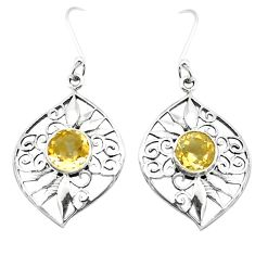 Natural yellow citrine 925 sterling silver dangle earrings m48632
