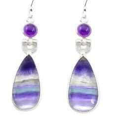 Natural multi color fluorite amethyst 925 silver dangle earrings m48742