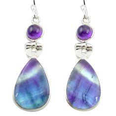 Natural multi color fluorite amethyst 925 silver dangle earrings m48743