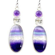925 silver natural multi color fluorite amethyst dangle earrings m48744