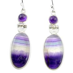 Natural multi color fluorite amethyst 925 silver dangle earrings m48745