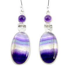 Natural multi color fluorite amethyst 925 silver dangle earrings m48746