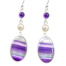 Natural multi color fluorite amethyst 925 silver dangle earrings m48747