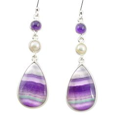 Natural multi color fluorite amethyst 925 silver dangle earrings m48748