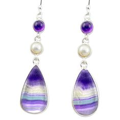 925 silver natural multi color fluorite amethyst pearl dangle earrings m48749