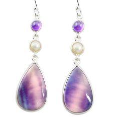 Natural multi color fluorite amethyst 925 silver dangle earrings m48750