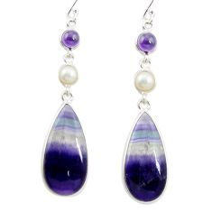 Natural multi color fluorite amethyst 925 silver dangle earrings m48751